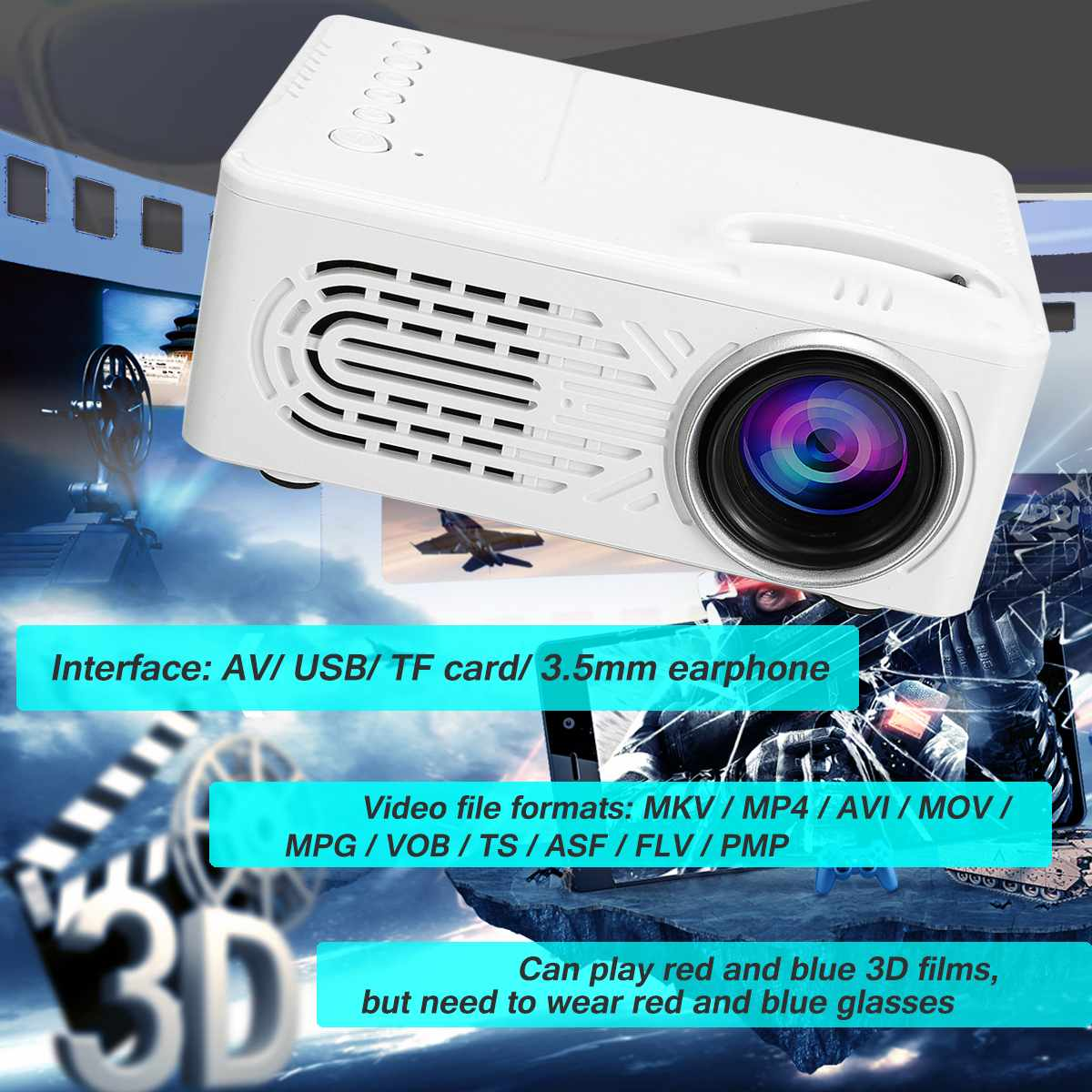 15W Portable Mini Projector 1080P LCD LED USB Home Theater Cinema Video Media Player 25-80 Inches Portable US/EU Plug 64G Front