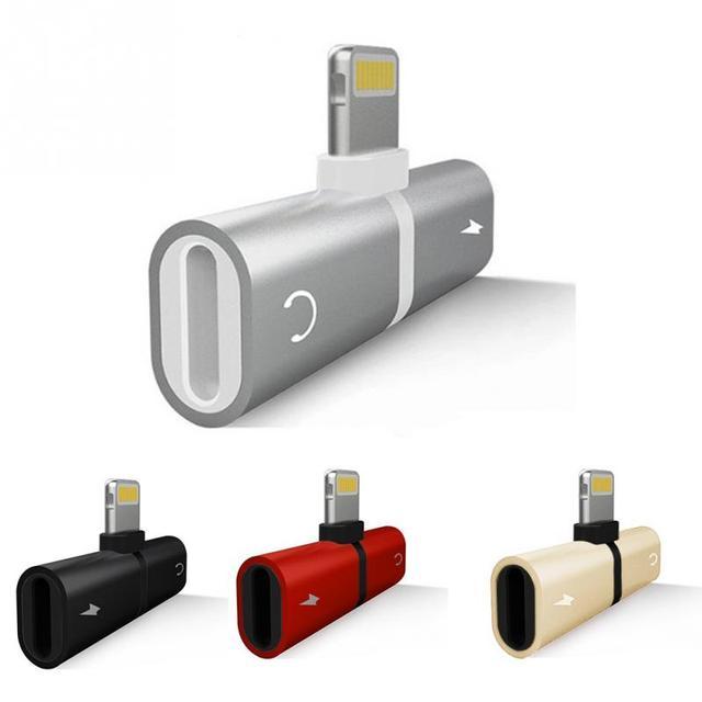 2 Di 1 Audio Adaptor untuk iPhone 7 8 X Konektor Splitter Charger Audio Headphone Adapter untuk Jack untuk Earphone kabel Aux