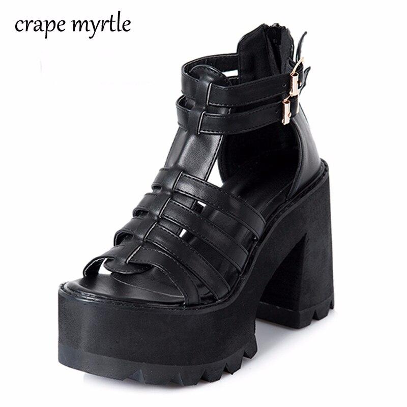 chunky heel sandals punk shoes Sandals High Heels Platform Sandals Women Summer Shoes sandalias romanas women's sandals YMA160