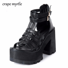 Купить с кэшбэком chunky heel sandals punk shoes Sandals High Heels Platform Sandals Women Summer Shoes sandalias romanas women's sandals Y849
