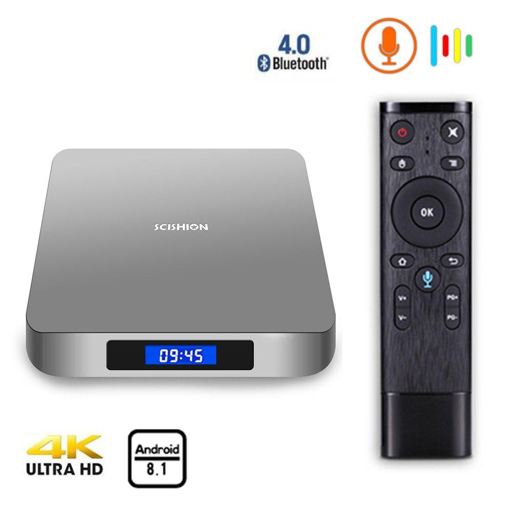 Ai One Android 8.1 Smart Tv Box Wifi décodeur Bluetooth 4.0 Rockchip 3328 lecteur multimédia avec commande vocale
