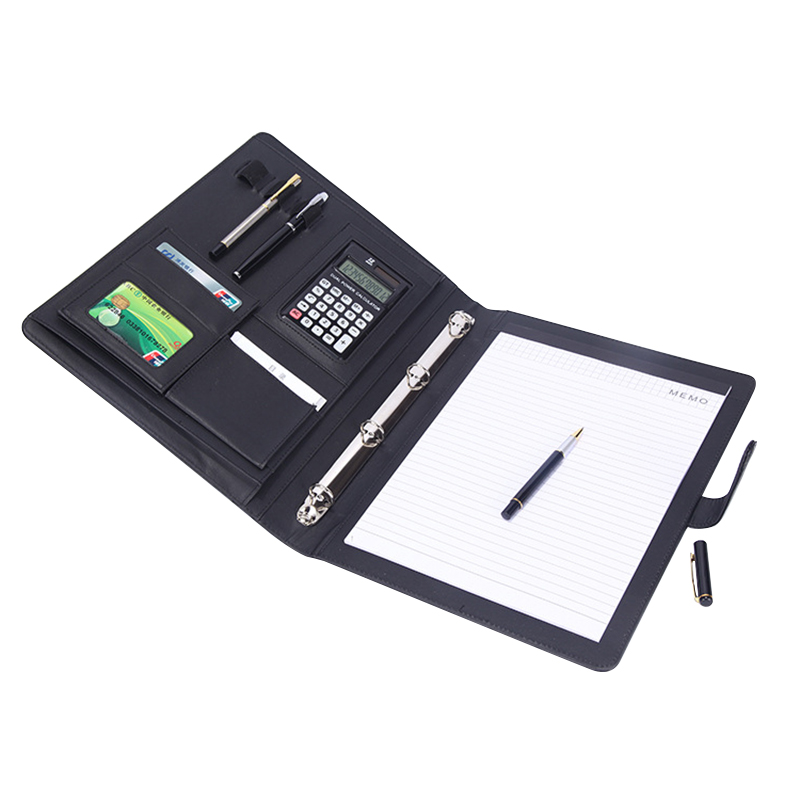 8 Packets File Folder A4 PU Ring Binder Display Book Folders With Calculator Document Bag Organizer Business Office Supplies