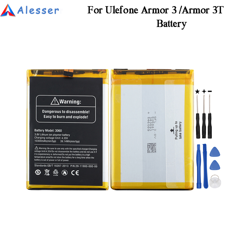 Alesser For Ulefone Armor 3 Battery 3060mAh 100% New Replacement Accessory Accumulators For Ulefone Armor 3T Batteria +Tools