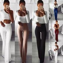 2062eb16b3 Las mujeres Palazzo pantalones acampanados de Color sólido de cintura alta  damas carrera moda Pantalones Slim pantalones largos .