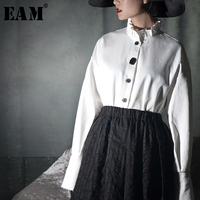 [EAM] 2019 Spring Summer Woman Fashion White Color Vintage Ruffles Stand Irregular Single Breasted Loose Pleated Shirt LA783