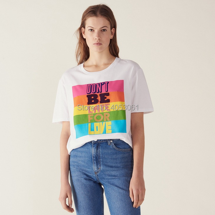Cotton 100% Rainbow Letter Flocking Print Tees Top - 2019ss Women Colorful Block Letter Printed T Shirt