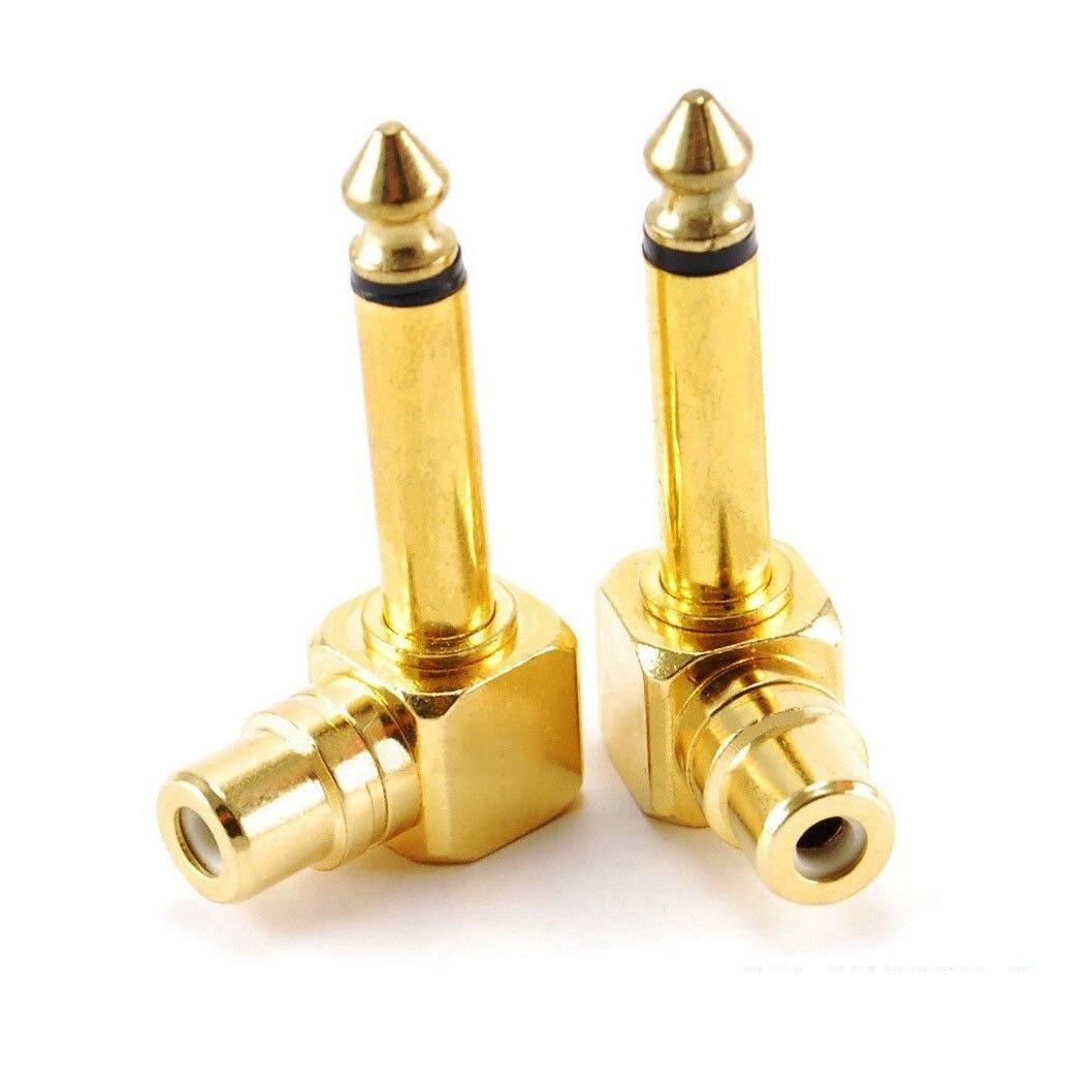 2-pack Cinch-buchse Jack Zu 1/4 Zoll Mono Männlichen Stecker Rechten Winkel Audio Adapter Gold Hochglanzpoliert Funkadapter