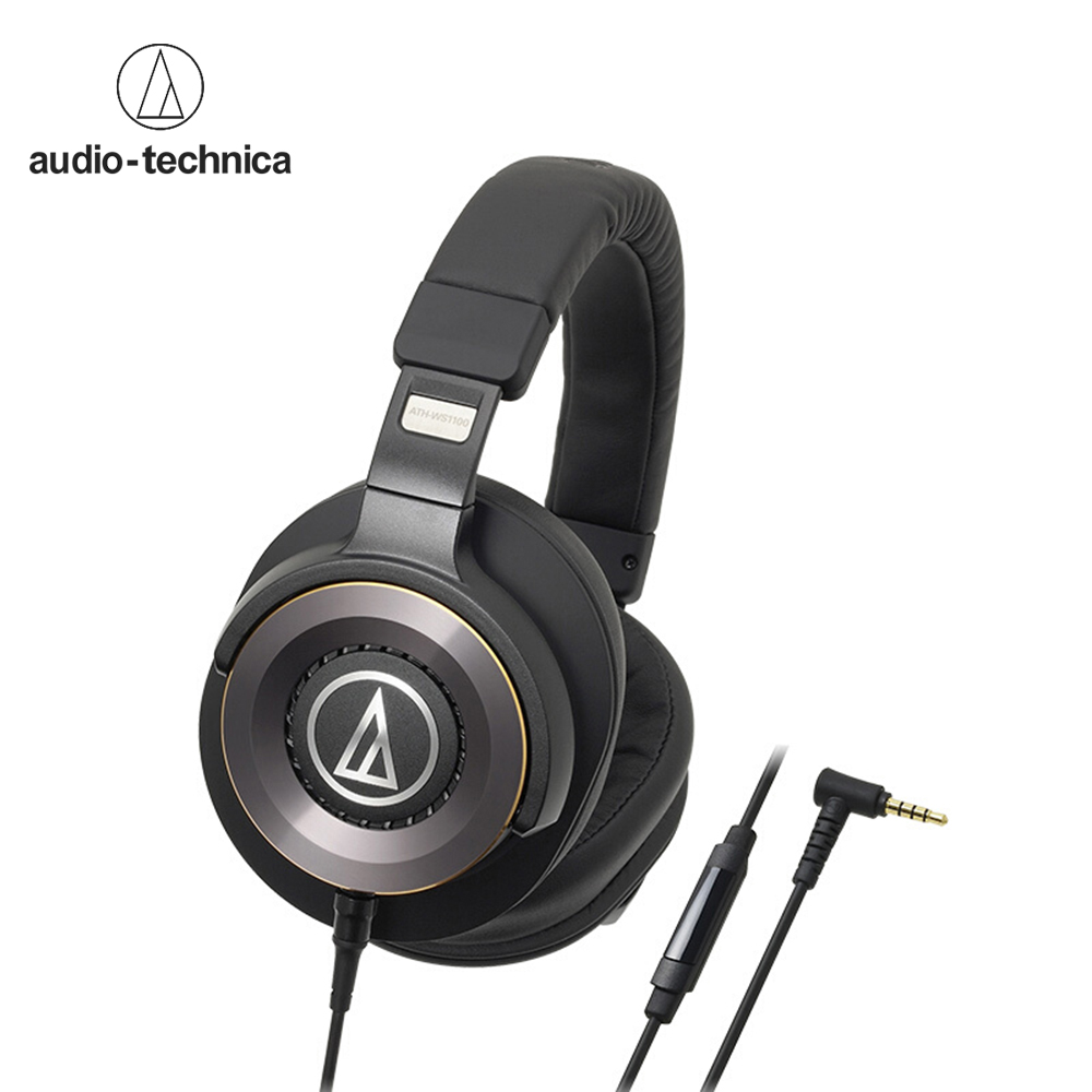 Audio Technica ATH WS1100iS Portable HiFi Headsets Solid Bass Over ear Headphones 3 5mm Wired Earphones