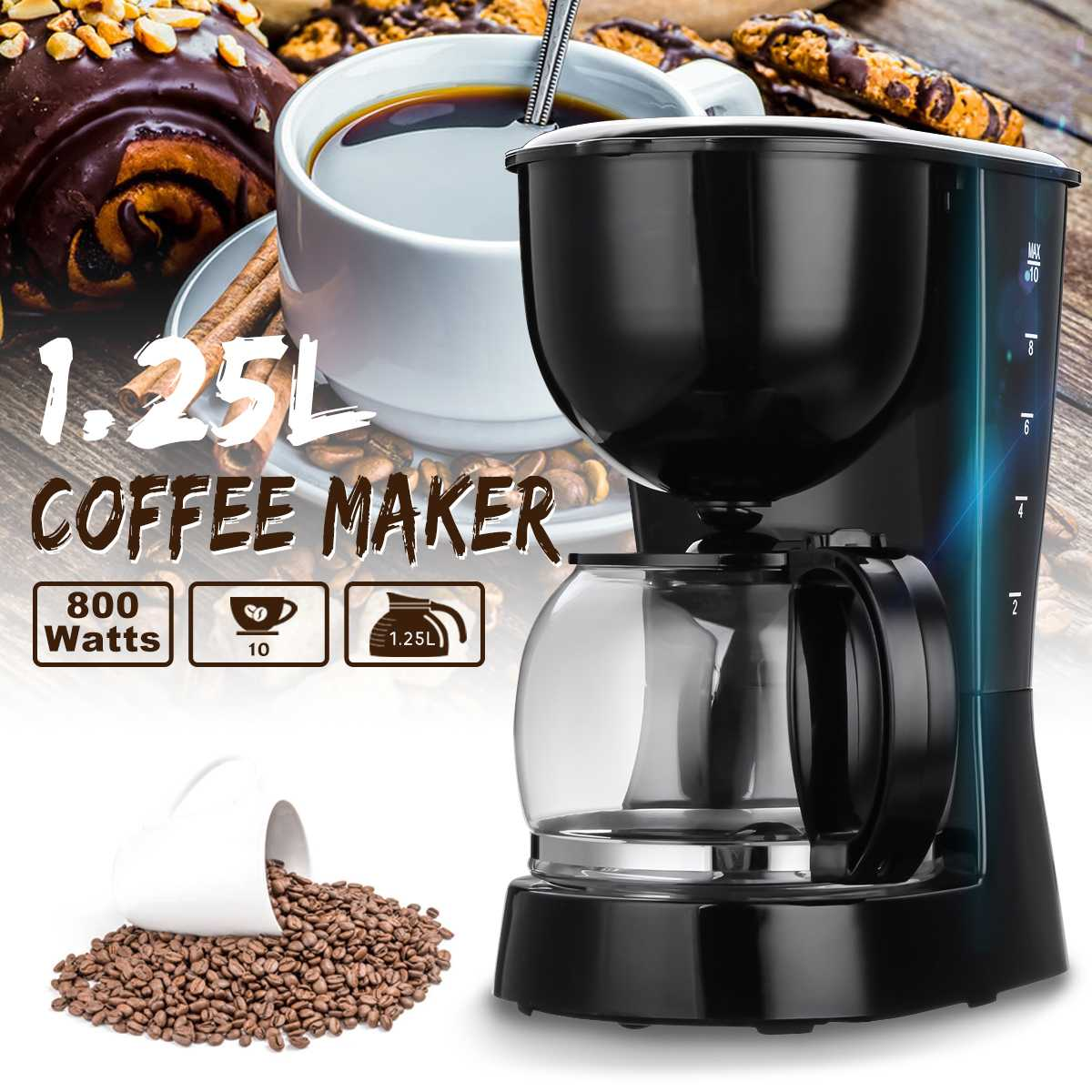 800W 1.25L Electric Drip Coffee Maker Household Tea Maker Espresso Latte Coffee Pot Home Office Cafe Coffee Making Machine800W 1.25L Electric Drip Coffee Maker Household Tea Maker Espresso Latte Coffee Pot Home Office Cafe Coffee Making Machine