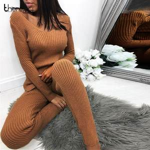 Pants Women Set Sweater Split-Top Two-Piece-Sets Knitted Long-Sleeve Autumn Winter Casual