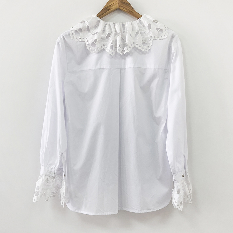 women hollow out lace shirt 2019 new sexy deep V neck seventh sleeve lace embroidery elastic waist 100% cotton short blouse - 4