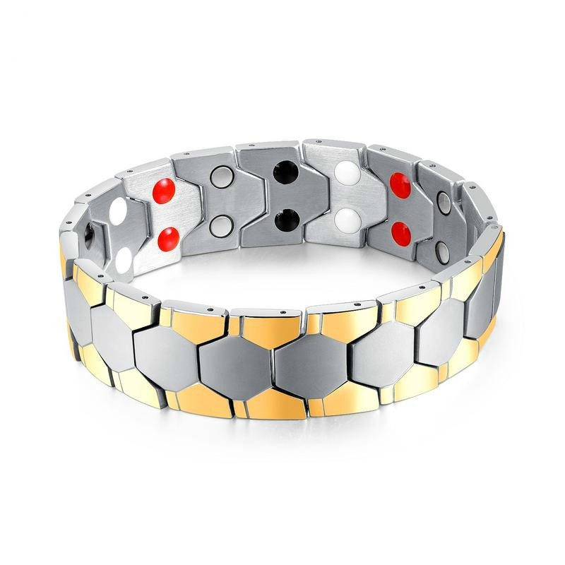 Magnetic Therapy Stainless Steel Men Bracelet Pain Relief For Arthritis And Carpal Tunnel Wide Silver Gold Bangle Hand Cuffs in Bangles from Jewelry Accessories