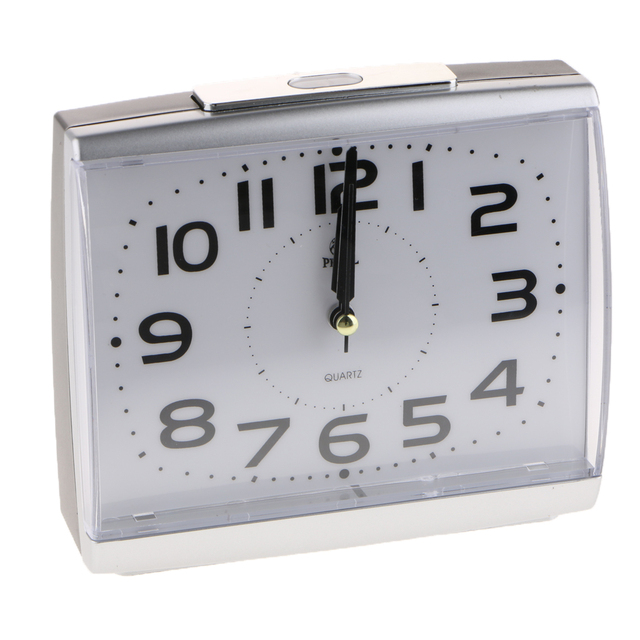Non Ticking Silent Quartz Analog Bedsides Alarm Clock with Nightlight and Snooze Beep Alarm Clock Battery Operated