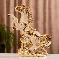 Creative Ceramic Gold Horse Statue Home Decor Crafts Room Decoration Living Room Ornament Porcelain Animal Figurines Decorations