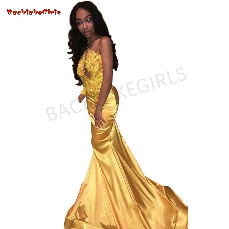 Sexy African Yellow Mermaid   Prom     Dresses   2018 Cut Out Lace Appliques Long   Prom     Dress   Evening Party Gowns