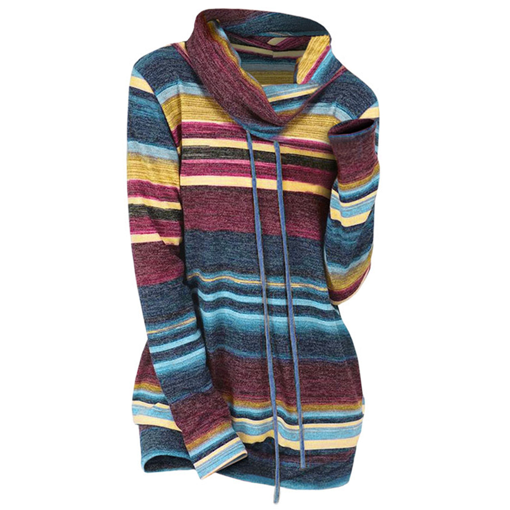 Wipalo Pullover Sweaters Jumpers Cowl-Neck Striped Knitwear Ladies Tops Long-Sleeve Casual