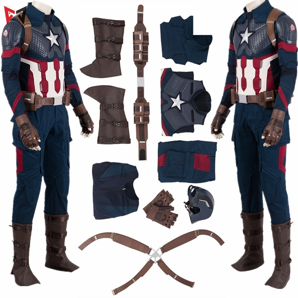 Avengers 4 Endgame Captain America Cosplay Costume Mask Steven Roger Vest Pants Top Halloween Leather Vest Gloves Set For Men