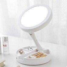 Складсветодио дный ное светодиодное зеркало для макияжа портативное компактное карманное зеркало косметическое ручное зеркало 10X увеличительные очки для женщин