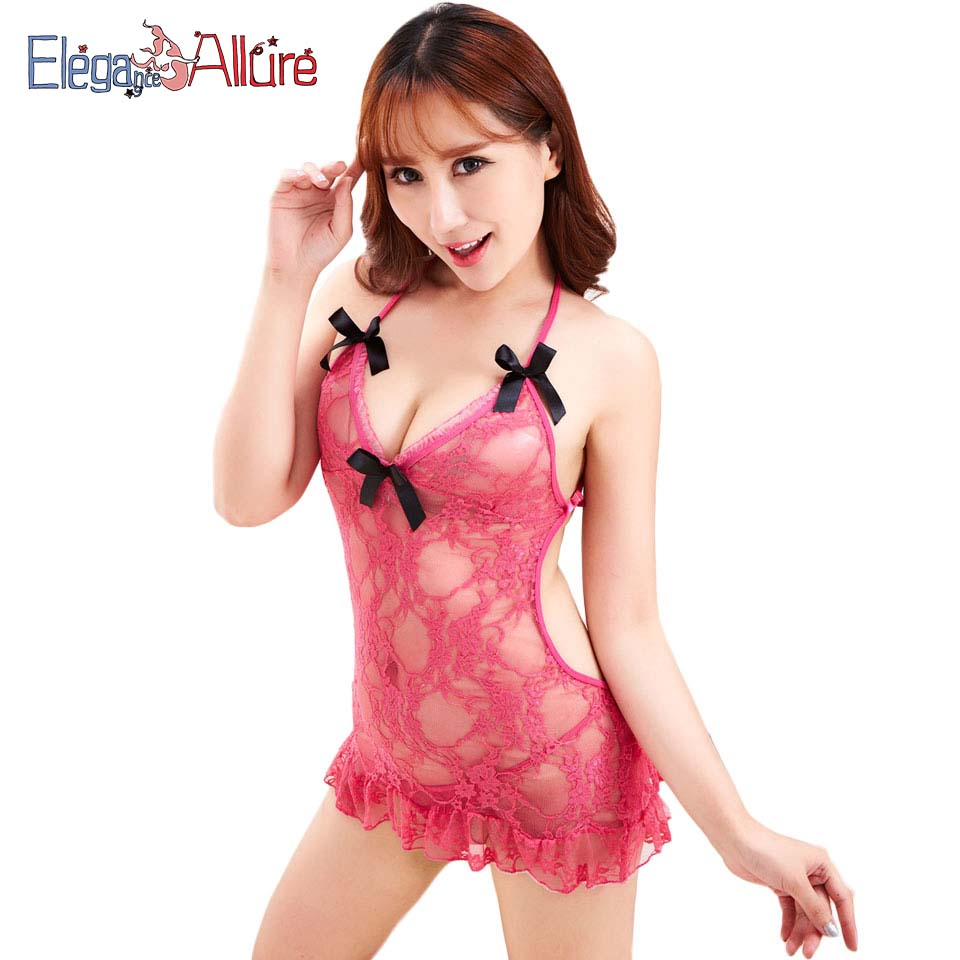 E A 2019 Sexy Women Lingerie Lace Babydolls Female Porno Underwear Mesh Halter Erotic Sexy Costumes Lady Hollow Out Sleepwear in Babydolls Chemises from Novelty Special Use