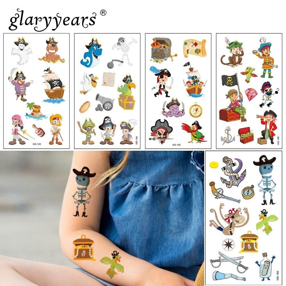 Glaryyears 1 Sheet Hot Temporary Tattoo Sticker Pirate Makeup Fake Tatoo Fashion Flash Tatto Waterproof Small Body Art For Child
