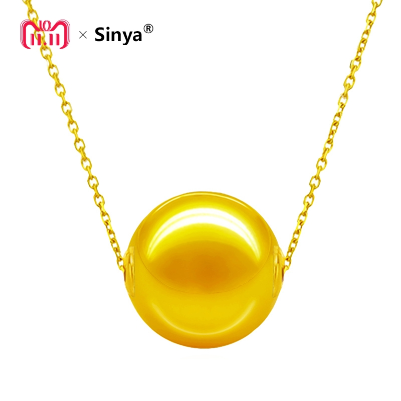Sinya High quality Real Southsea gold pearl necklace 18k Au750 gold chains 8-12mm Single south pearls necklace for women Mother sinya real diamond southsea golden pearl pendant 18k gold necklace choker include au750 gold chains for women mum girls gift