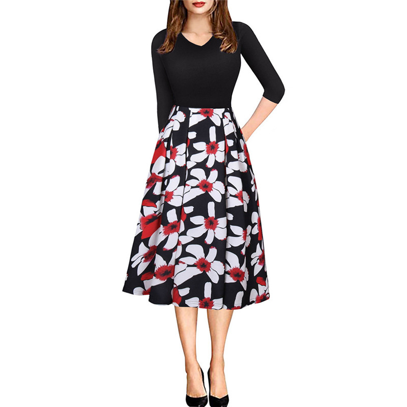 2019 New Women Fashion Women Colorful Dress Women Black Dress in Dresses from Women 39 s Clothing