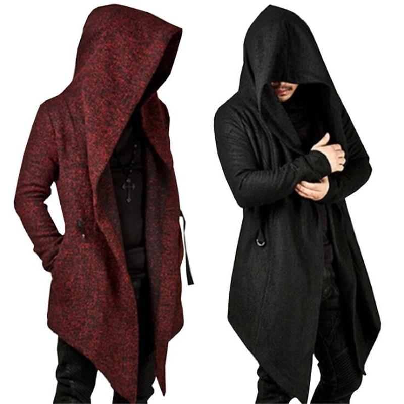 Men's Hooded Trench Coat  Autumn Winter Fashion Irregular Hem Solid Color Punk Long Sleeve Men's Personality Slim Jacket