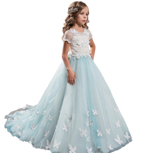 Cap Sleeves Little Flower Girls Pageant Dress Lace Butterfly Formal Kids Ball Gowns Long Elegant White First Communion Dress недорого