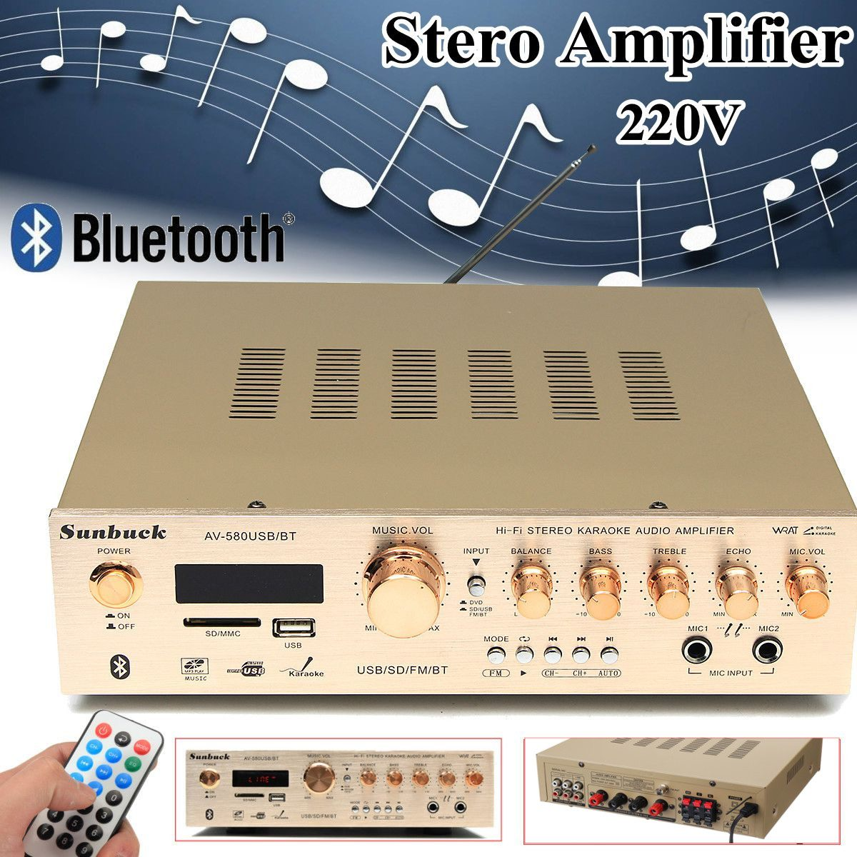 Amplifier Stero Bluetooth-Function 5-Channel 220V 50W Play USB with Card Support-Fm-Radio