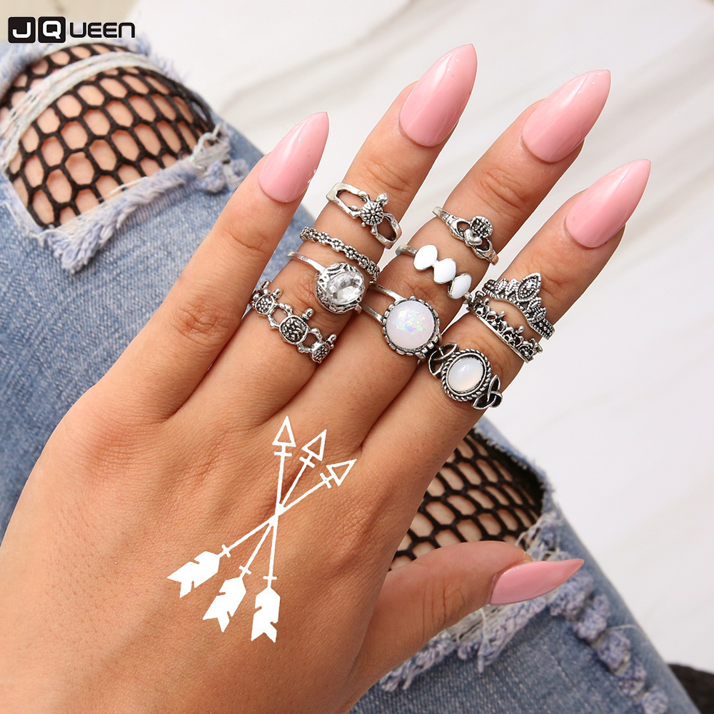 Vintage Tortoise Stone Opal Rings Set Bohemian Geometric Antique Silver Color Crystal Knuckle Rings For Women Jewelry