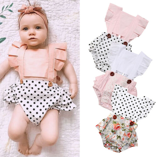 Baby Girl Clothes Splice Bodysuit Jumpsuit Playsuits Ruffled Outfit Summer Backless Sunsuit 3-24M BN4FT29526A1  FT29526A1