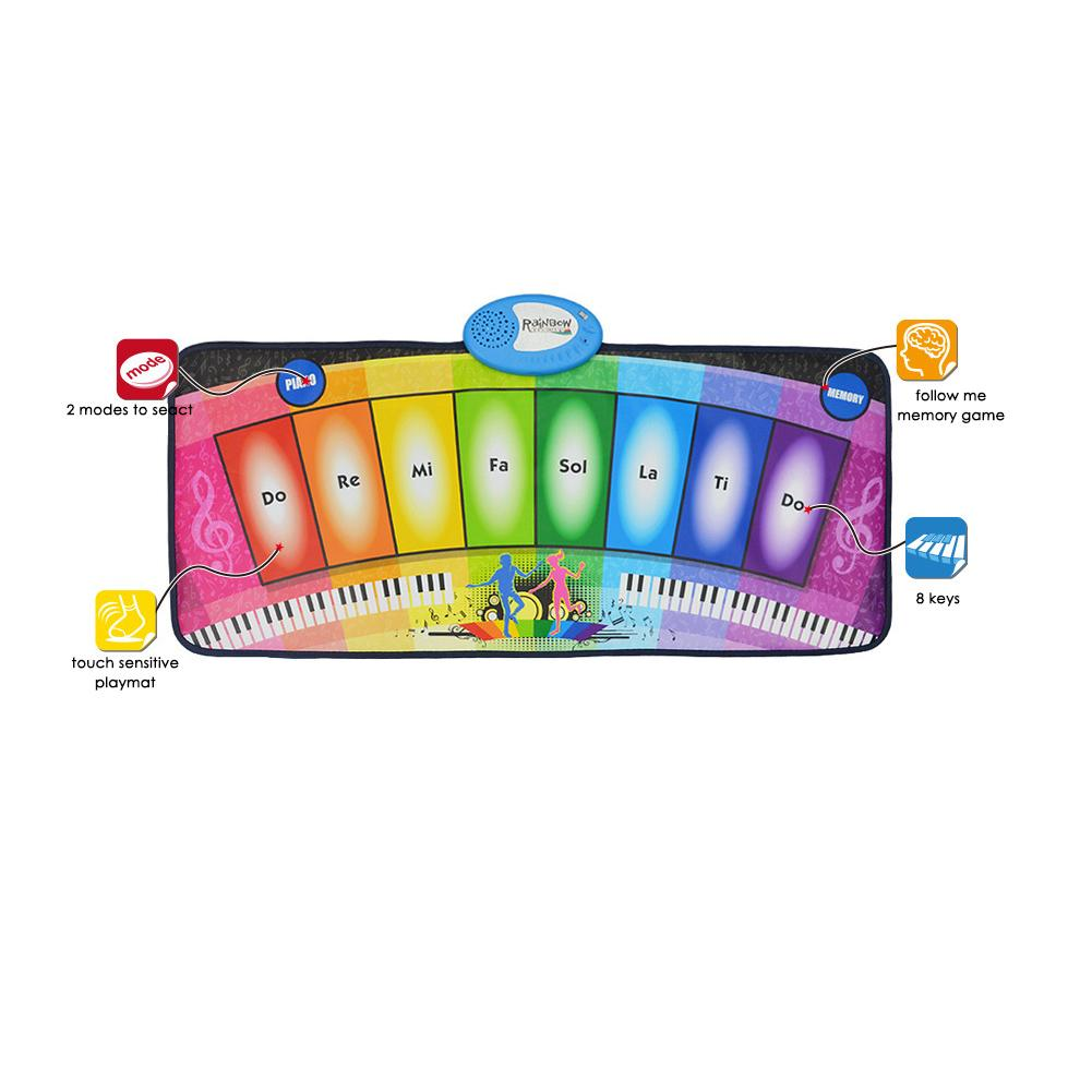 Tapis de jeu multifonctionnel brillant de Piano d'arc-en-ciel de couverture de danse de musique des enfants - 2