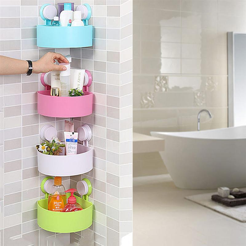 Plastic Suction Cup Bathroom Kitchen Corner Storage Rack Organizer Shower Shelf Bathroom Decoration