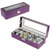 Watch Box 6 Grids Jewelry Organizer Box Luxury PU Leather Watch Display Case Storage Gift Box For Watches Organizer Caja Reloj