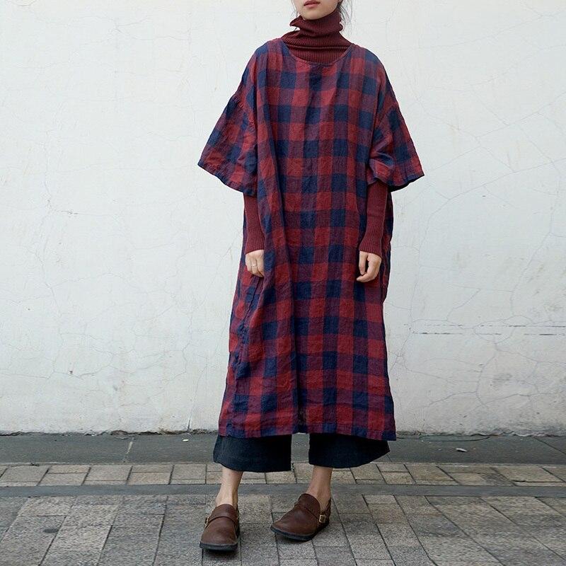 2019 Spring New Plaid Dress Women Linen O neck Half Sleeve Vintage High Quality Women Clothing Plus Size Dress