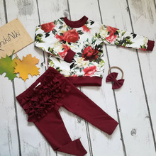 girls sets clothing toddler girl outfits fashion cotton kids clothes set print floral full pullover boutique christmas outfit цена и фото