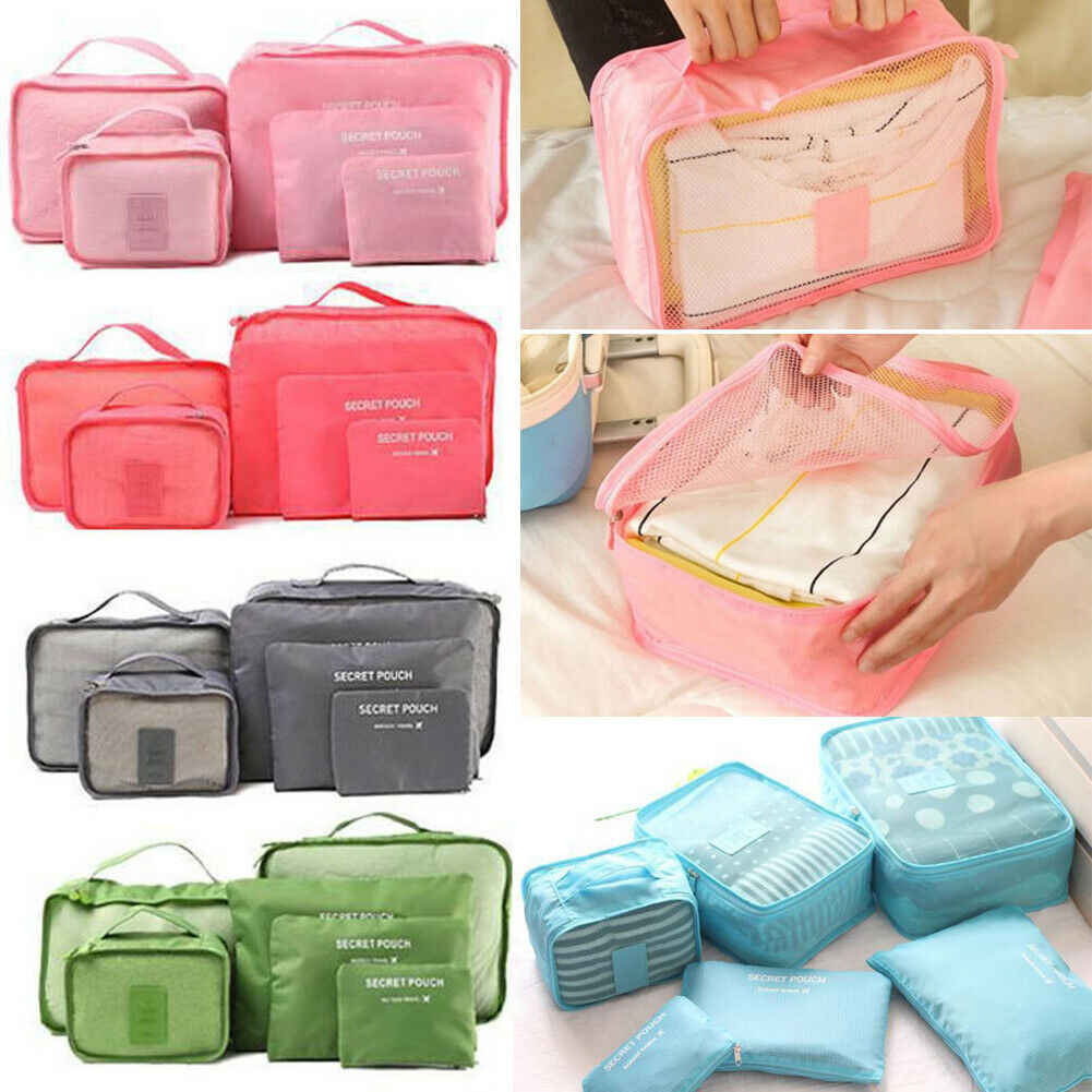 New Arrival 6Pcs Set Travel Storage Bag Waterproof Clothes Packing Cube Luggage Organizer Set Travel Storage Bags