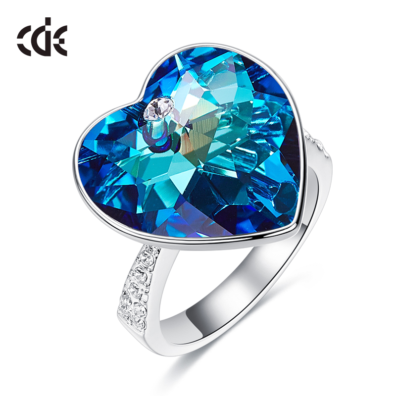 CDE Jewellery Ring Woman Embellished With Crystals Wedding Rings Engagement Gift Heart Jewelry Ringen For Women Finger Ring