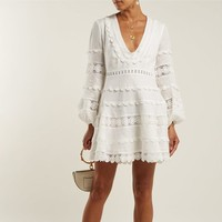 2019 spring and summer New Fashion Women Casual Sexy V Neck Long Sleeve Lace Trim Short Mini Dress white dress vestido