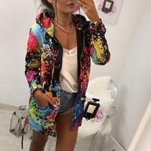 Women's Long Sleeve Hooded Colorful Windbreaker Jacket Floral Print Zipper Coat
