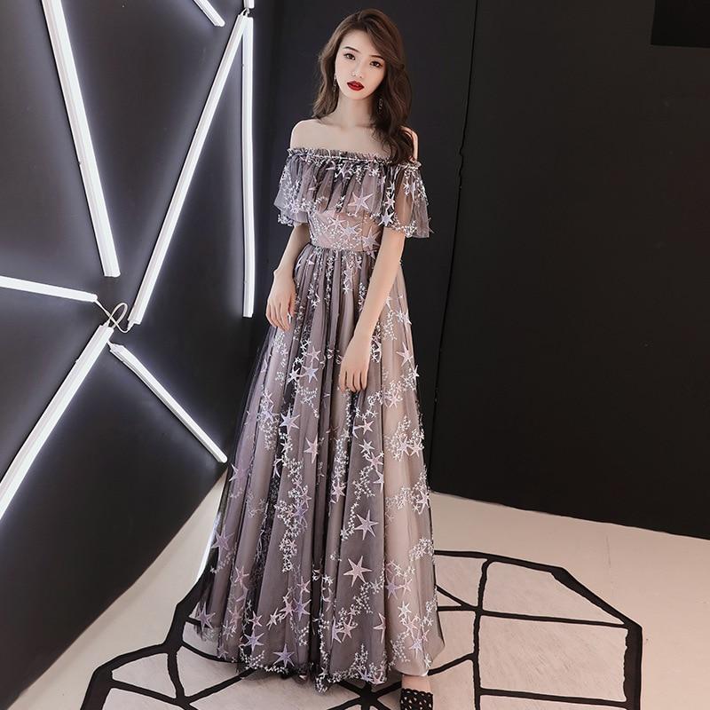 Tenue Fête Appliques Épaule Nu Off Longue Robe Étoiles Femmes Pour 2019 Taille Dos Femme Mode De Haute D'été Soirée 7yYf6bg