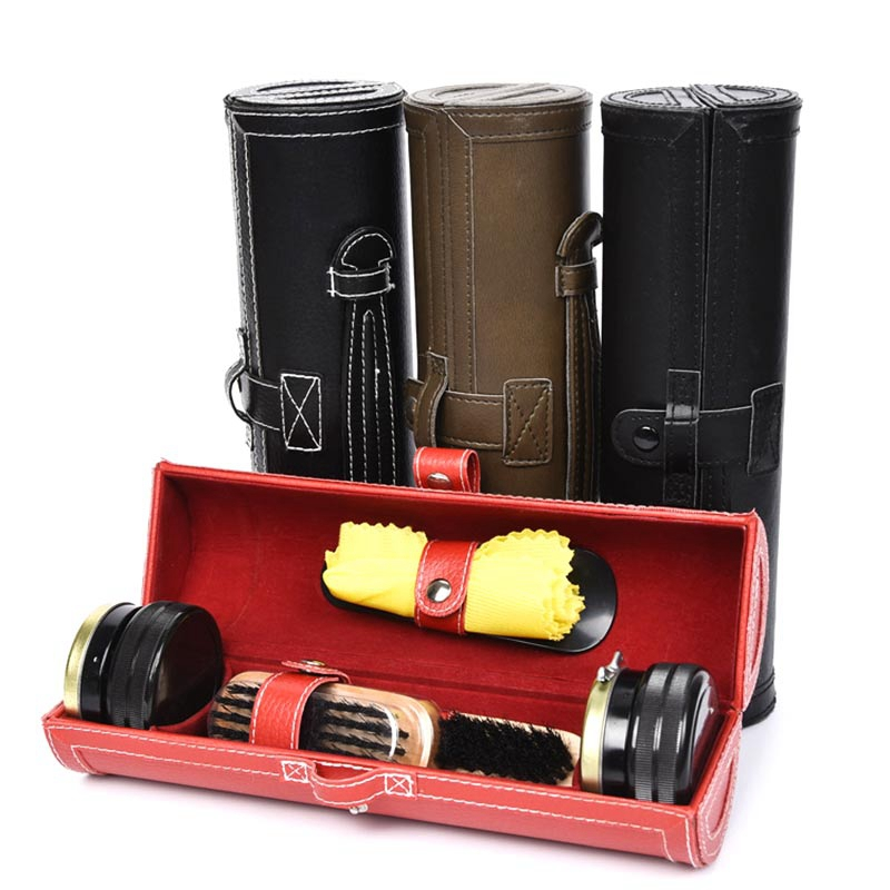 Shoe Shine Care Kit With Compact Case Portable Travel Home Neutral Shoes Polish Set For Men Gifts|Shoe Brushes| |  - title=