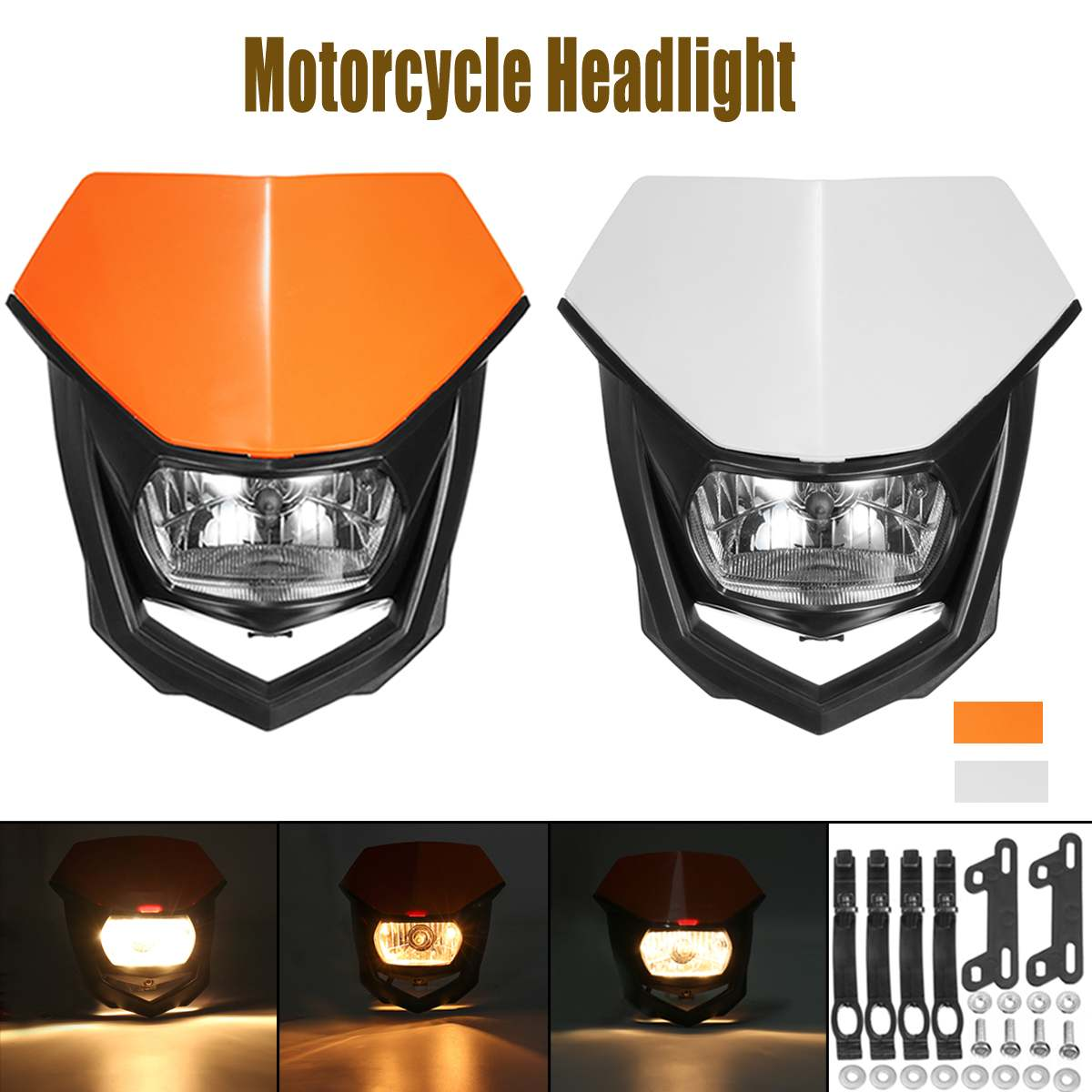 Universal Motorcycle 12V H4 Headlight Bulbs Headlamp  Dirt Bike Motorcycle Enduro Head Lamp