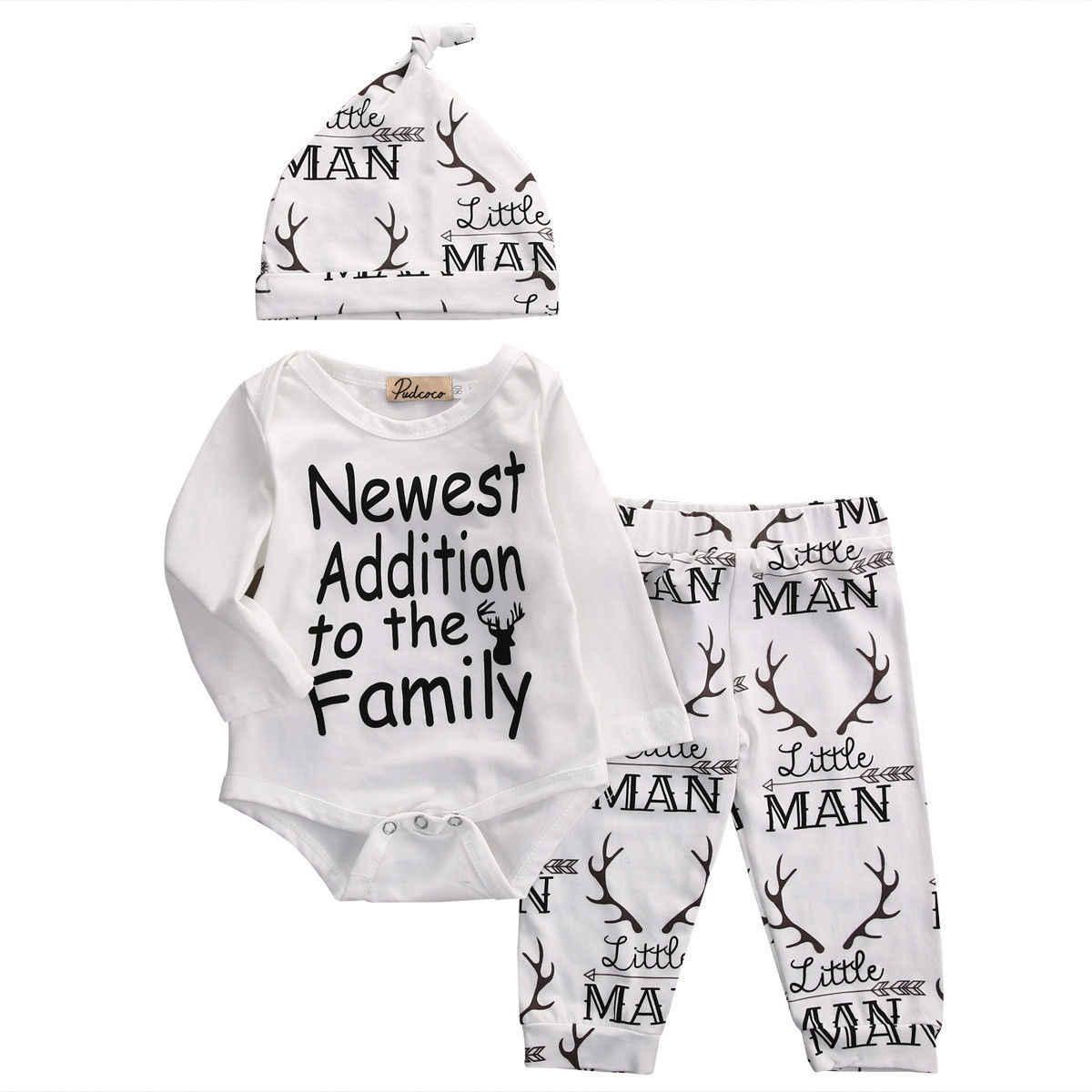 c848f0ec2 Detalle Comentarios Preguntas sobre Bebé recién nacido bebé niño  encantadora carta impresión Tops mono elegante pantalón sombrero 3 piezas  traje conjunto de ...