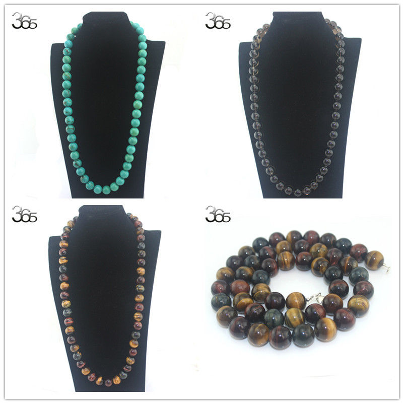 Livraison gratuite 16mm gemmes véritable pierre naturelle perles rondes en argent Sterling 925 artisanat fermoir fille bijoux collier 30