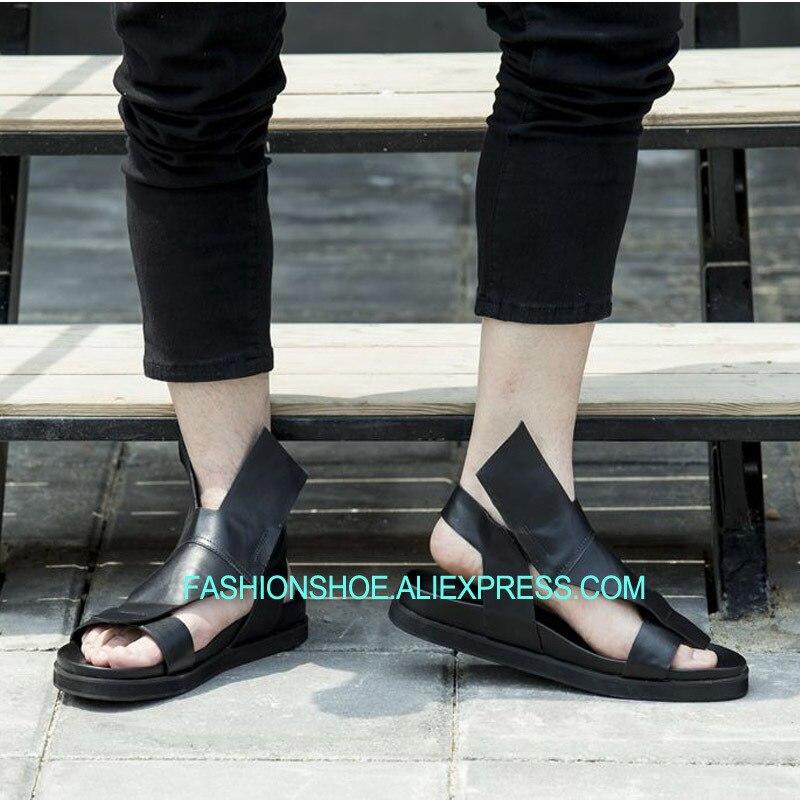 Roma Diseño Resbalón Único Tobillo Hombres De Casuales Zapatillas Ocio Gladiadores Negro En Sandalias Pisos Blanco Estilo Hombre Para PBUaPnrwx