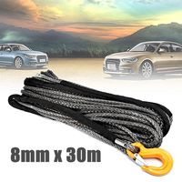 30m Winch Rope String Line Cable with Sheath Gray Synthetic Towing Rope Car Wash Maintenance String For ATV UTV Off Road