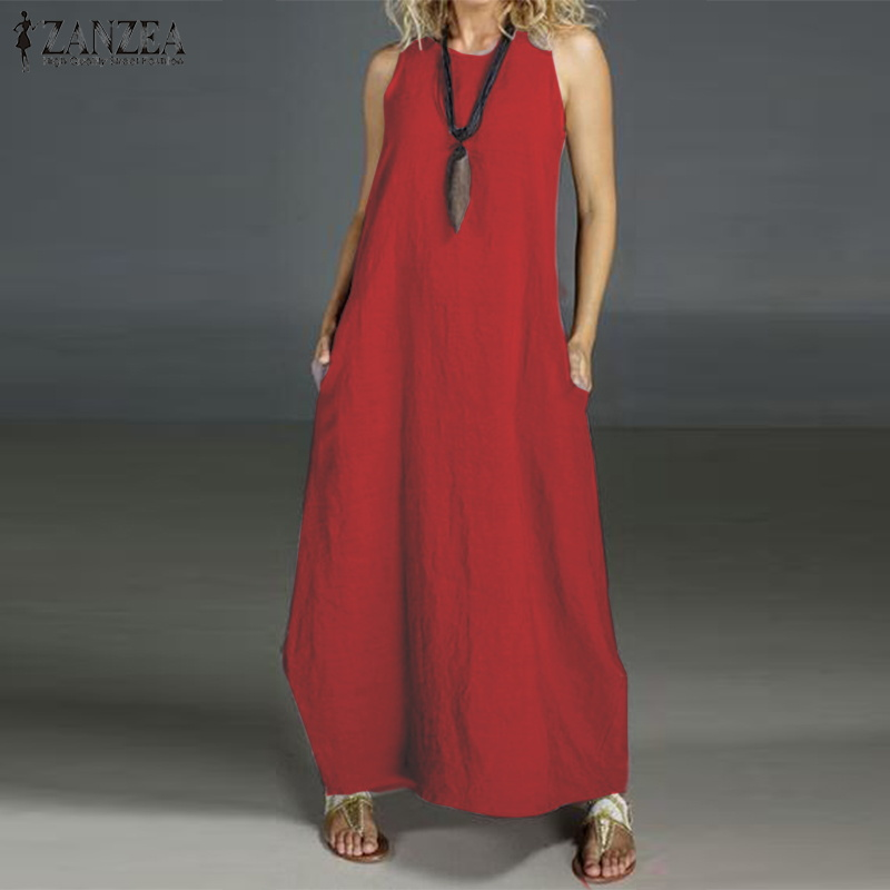 ZANZEA Women 's Summer Dress Ladies Sleeveless Sarafans Sundress Long Maxi Vestidos Plus Size Robe Femme Beach Party Dresses 5XL
