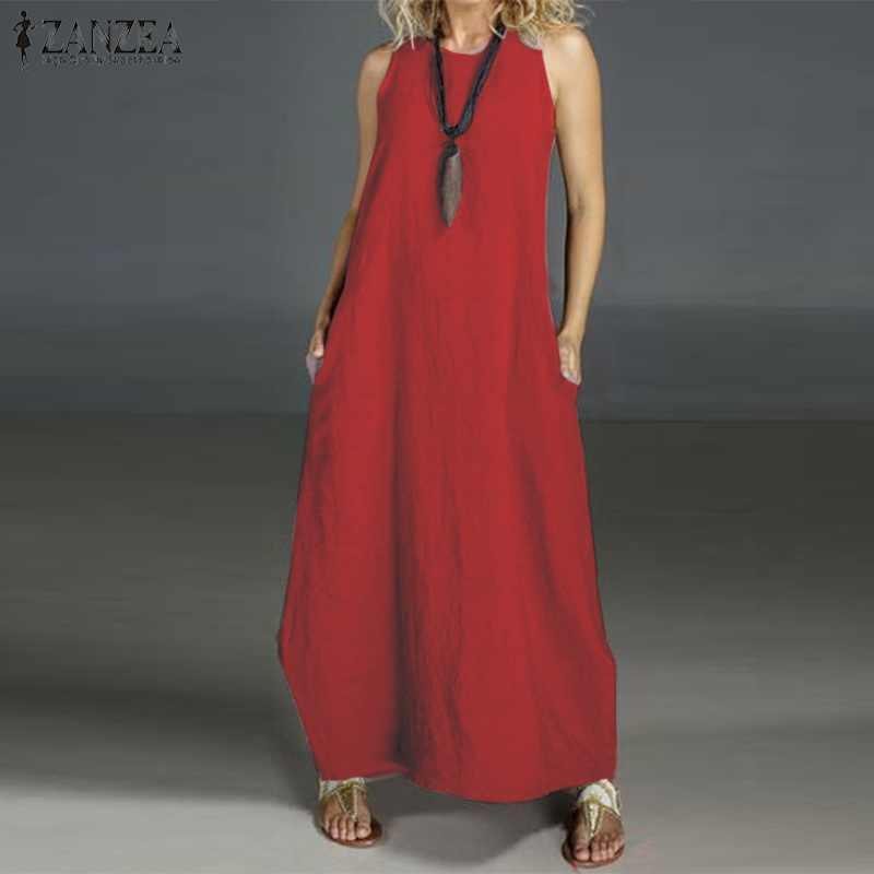 ZANZEA женское летнее платье, женские Сарафаны без рукавов, сарафан, Длинное Макси платье размера плюс, женское пляжное платье для вечеринки, 5XL