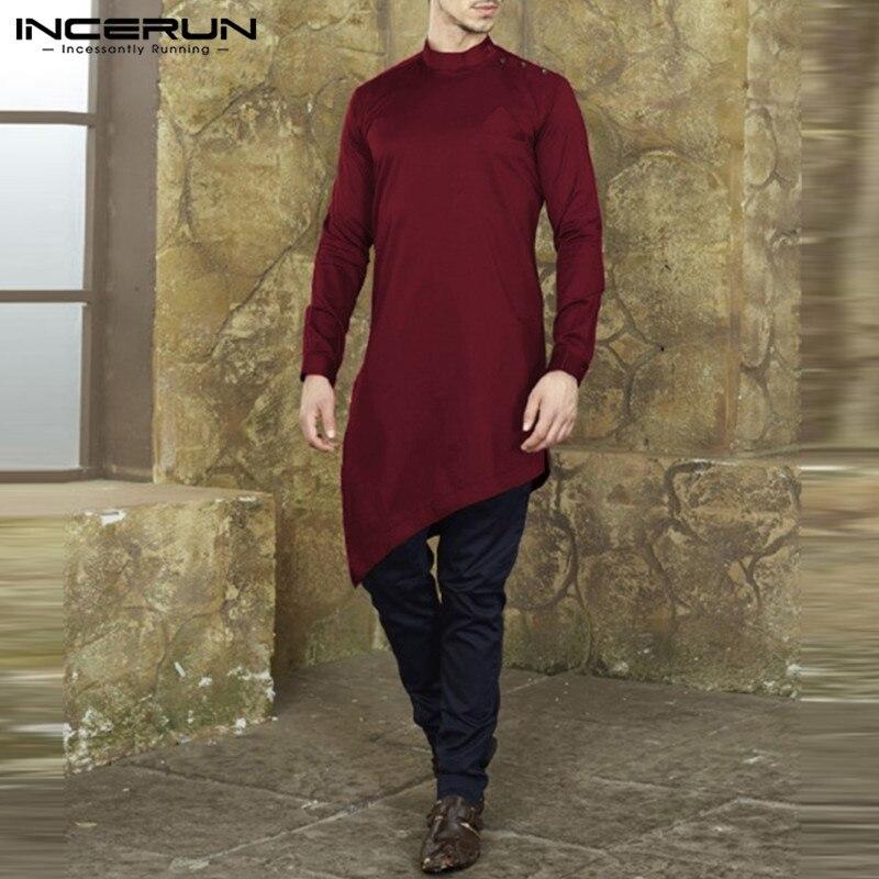 SELX Men Slim Irregular Hem Stand Collar Button Down Long Sleeve Shirts